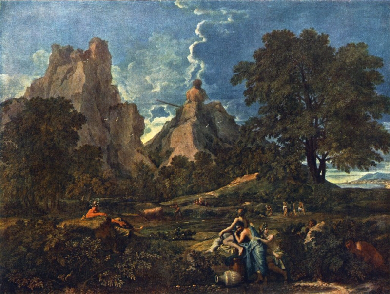 Baroque painting landscape wooded landscape with water