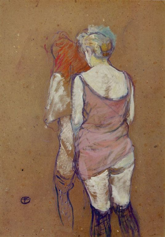 Two Half-Naked Women Seen from behind in the Rue des Moulins Brothe