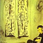Figure in front of a Window with Drawn Curtains